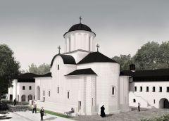 Imagine exterioară dinspre Kastelburgstr., dinspre zona parcului, de unde se poate vedea accesul în mănăstire