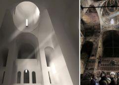 """Perspectivă interioară din naosul viitoarei biserici, alături de o imagine a spațiului central al catedralei """"Sfântul Nicolae Domnesc"""" din Curtea de Argeș"""