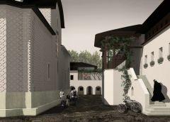Spațiul dintre foișorul mănăstirii cu scara de acces și biserica, având în capăt clădirea centrului comunitar